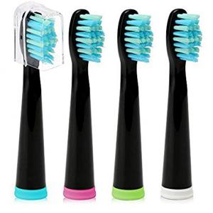Replacement Brush Heads for Sonic Electric Toothbrush, 4-pack, Black